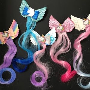 Unicorn Hair clip with wig, cute cute